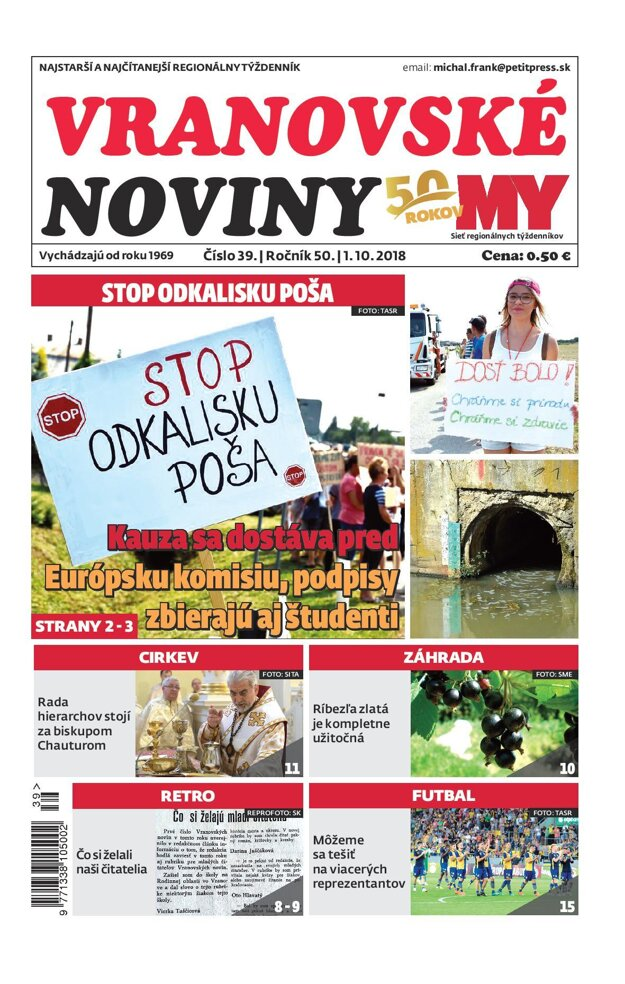 Titulná strana týždenníka Vranovské noviny č. 39/2018.