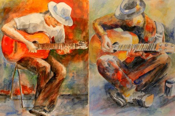 Z výstavy v mestskej galérii: Ivona Neveziova: Pieseň 1 a Pieseň 2, Akvarel. (REPROFOTO: MH)