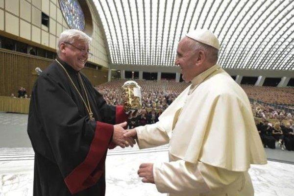 Stretnutie gréckokatolíckeho arcibiskupa Jána Babjaka a pápeža Františka.
