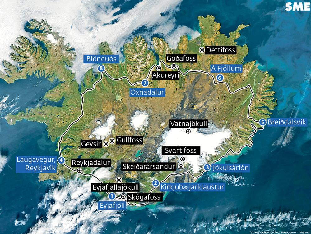 Mapa Islandu aj s označenými bodmi Sigur Rós.