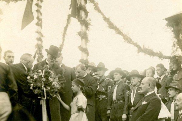 Privítanie prezidenta T. G. Masaryka 21. septembra 1921 na košickej železničnej stanici.