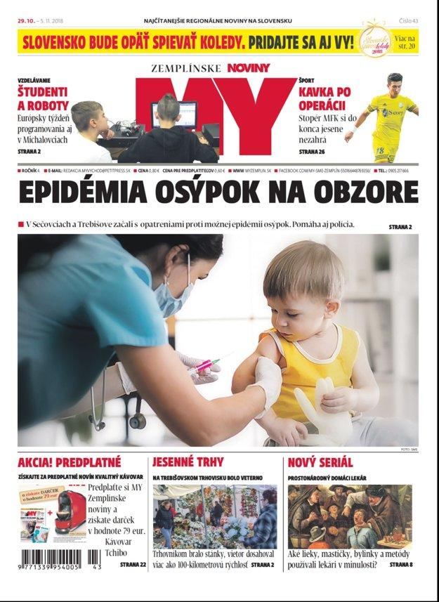 Titulka nového vydania týždenníka MY Zemplínske noviny č.43.