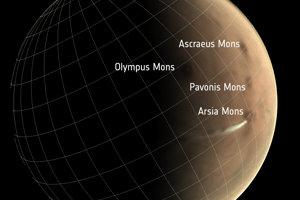 Poloha sopky Arsia Mons na Marse.