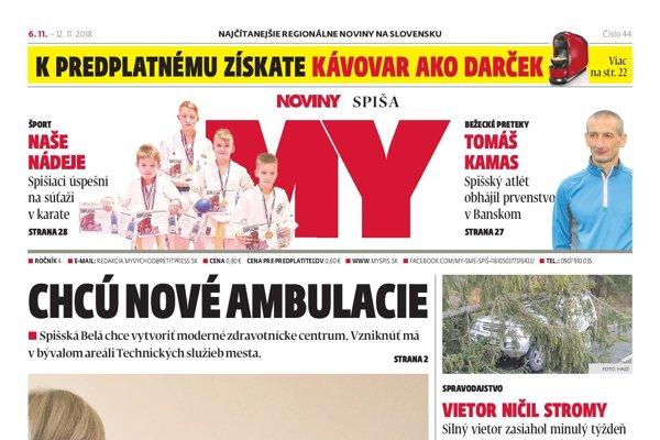 Titulná strana MY Novín Spiša č. 44/2018.