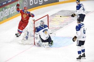 Momentka zo zápasu Fínsko - Rusko.