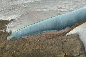 Umelecké zobrazenie radarového prieskumu ľadovca Hiawatha.