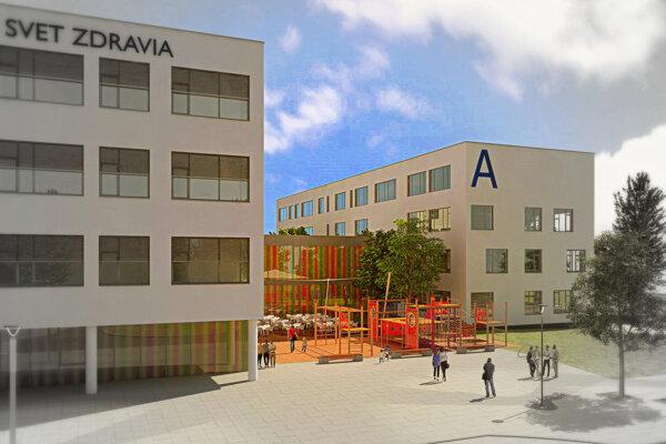 Moderný objekt polikliniky bude sbudovou michalovskej nemocnice prepojený dvojpodlažným traktom.(ZDROJ: SVET ZDRAVIA)
