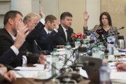 Zahraničného výboru Katarína Cséfalvayová (Most-Híd), minister zahraničných vecí a európskych záležitostí SR Miroslav Lajčák (nominant SMER), Martin Klus (SaS) a Peter Osuský (SaS.