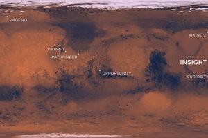 Miesto, kde pristane sonda InSight vzhľadom k ostatným roverom a sondám, ktoré už sú na červenej planéte.