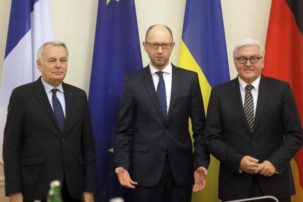 Arseniy Yatsenyuk, Frank-Walter Steinmeier and Jean-Marc Ayrault.