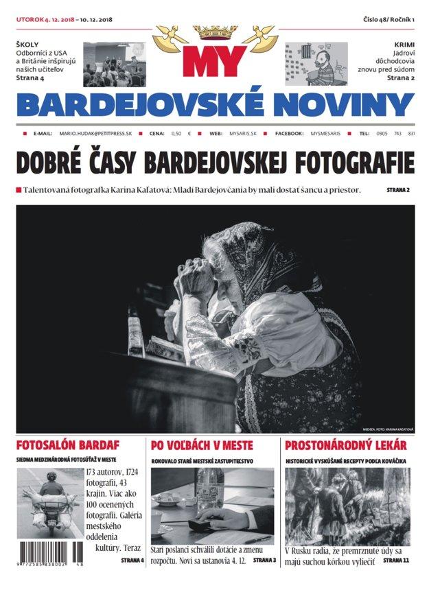 Titulka nového vydania týždenníka MY Bardejovské noviny č. 48.