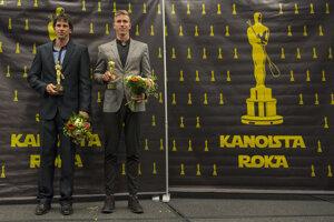 Alexander Slafkovský (vľavo) a za sekciu hladkých vôd rýchlostný kanoista Samuel Baláž.