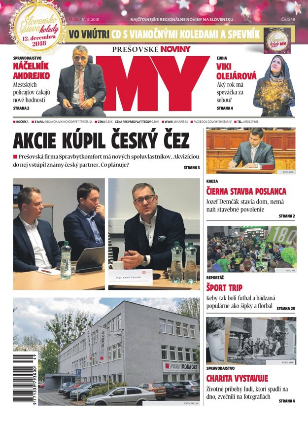 Titulná strana týždenníka MY Prešovské noviny č. 49/2018.