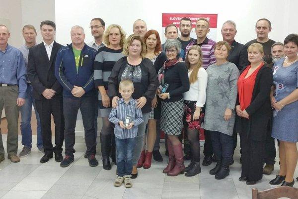 Ocenení darcovia krvi v Leviciach.