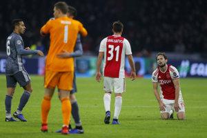 Momentka zo zápasu Ajax Amsterdam - Bayern Mníchov.