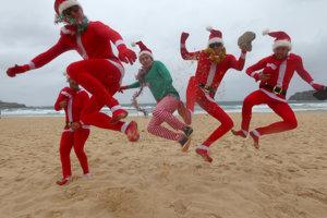 Vianoce na austrálskej pláži.