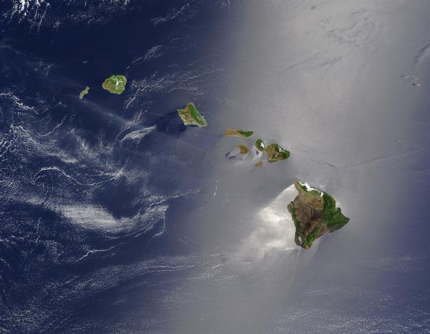 Satelitná fotografia Havajských ostrovov