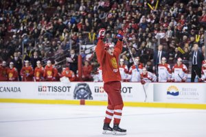 Momentka zo zápasu Rusko - Dánsko na MS v hokeji do 20 rokov 2019.