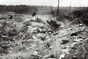 Miesto nehody neďaleko Ivanky pri Dunaji krátko po havárii talianskeho lietadla Caproni.