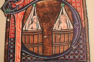 Stredoveké dodržiavanie hygieny a kúpele podľa dobovej ilustrácie.