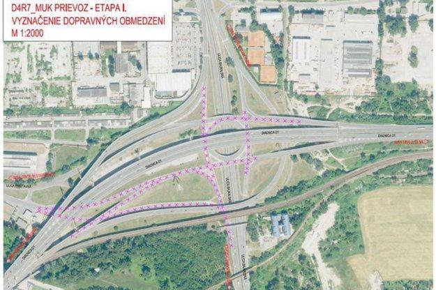 Starosta Ružinova Martin Chren zverejnil obrázok, na ktorom konzorcium D4/R7 nakreslilo obmedzenia na križovatke pod Prístavným mostom.