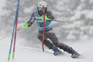 Adam Žampa počas slalomu.