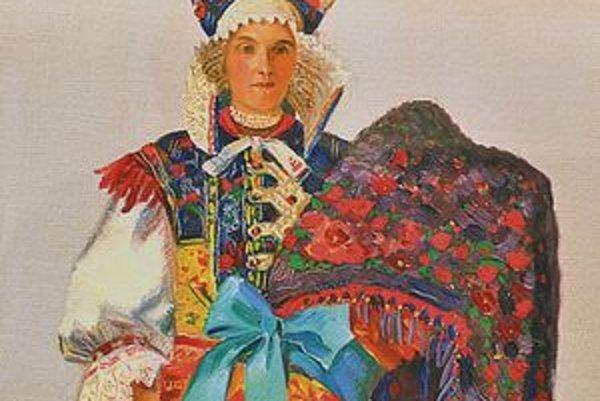 Martin Benka namaľoval obraz Kmotra zo Sliačov v roku 1937 olejomaľbou na kartón.