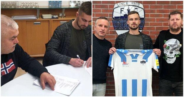 Bilovského podpis sledoval predseda predstavenstva Marián Valenta, s prvou zimnou posilou pózovali generálny manažér Jozef Petráni a športový riaditeľ Marián Süttö (vpravo).