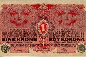 Jednokorunová bankovka z čias Rakúsko-Uhorska, ako aj staré mince platili aj tri roky po vzniku Československa.
