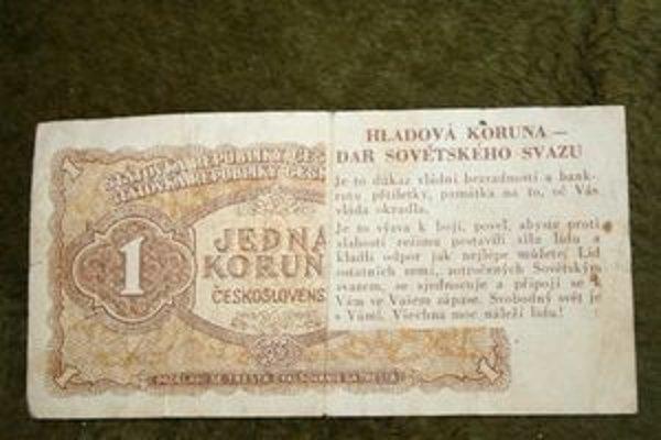 Hladová koruna, ktorá k nám priletela po zmene meny v roku 1953 zo západu balónovou poštou.