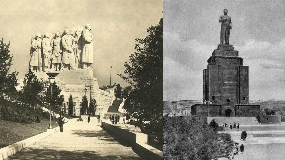 Otakar Švec: Stalinov pomníjk na Letnej, 1955. Najväčšie súsošie v Európe. S.D. Merkulov: Pamätník víťazstva v Jerevane, Arménsko 1950. Výška aj s podstavcom: 51 m.