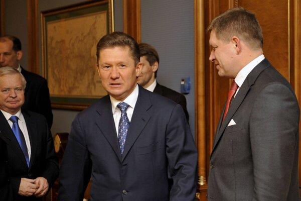 Alexej Miller a Robert Fico na stretnutí v roku 2009.