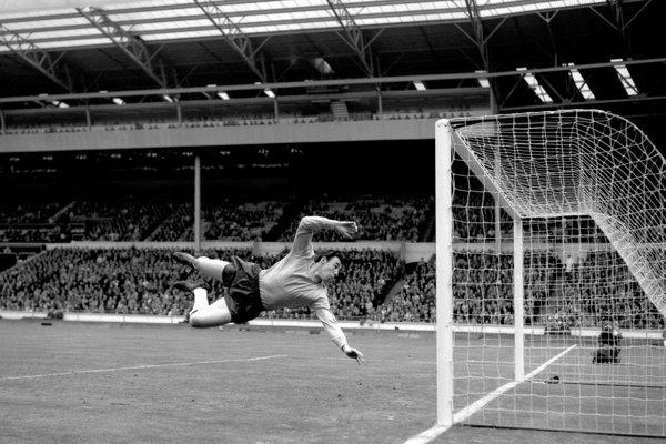 Na archívnej snímke z 5. mája 1965 brankár anglickej futbalovej reprezentácie Gordon Banks počas zápasu proti Maďarsku v Londýne. Gordon Banks zomrel vo veku 81 rokov. Majster sveta z roku 1966 zomrel pokojne v spánku. V utorok 12. februára 2019 o tom informoval jeho bývalý klub Stoke City.