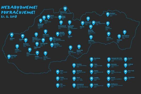 Mapa miest, kde budú vo štvrtok protesty.