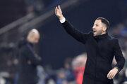 Tréner Schalke O4 Domenico Tedesco v zápase osemfinále Ligy majstrov 2018/2019 proti Manchestru City.