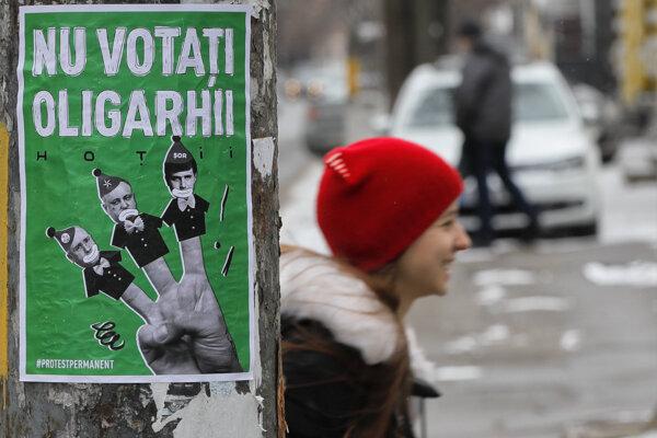 """Predvolebný plagát """"Nevoľte oligarchov"""""""