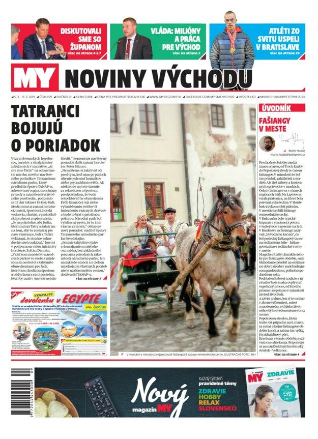 Titulka nového vydania týždenníka MY Noviny východu č.9.