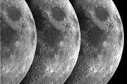 Záber zložený z troch snímok zo sondy Cassini. Tmavá oblasť v pravej časti je Mare Crisium (More nepokojov).