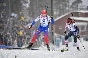 Anastasia Kuzminová počas MS v biatlone 2019.