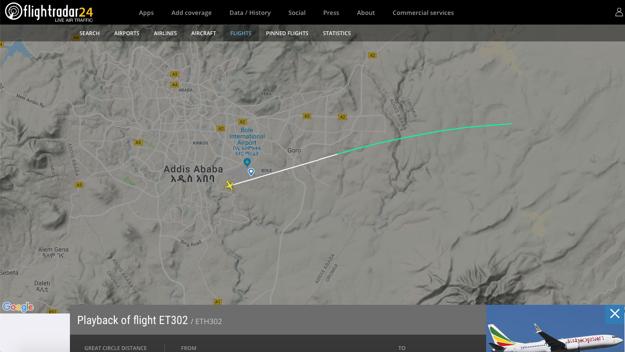 Trajektória letu havarovaného Boeingu.
