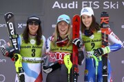 Zľava Wendy Holdenerová, Mikaela Shiffrinová a Petra Vlhová.