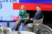 Zuzana Čaputová a Maroš Šefčovič v povolebnom štúdiu.