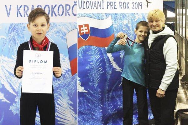 Bennett Bočkay a Alex Války s trénerkou Lianou Drahovou.