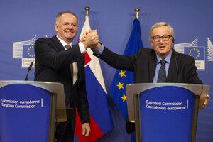 Prezident Andrej Kiska a vpravo predseda Európskej komisie Jean-Claude Juncker.