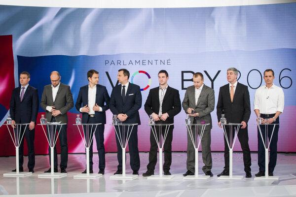 Lídri strán v povolebnej diskusii.