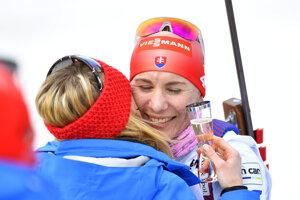 Na snímke slovenská biatlonistka Anastasia Kuzminová počas rozlúčky s kariérou v cieli pretekov s hromadným štartom žien na 12,5 km počas 9. finálového kola Svetového pohára v biatlone v nórskom Holmenkollene 24. marca 2019.