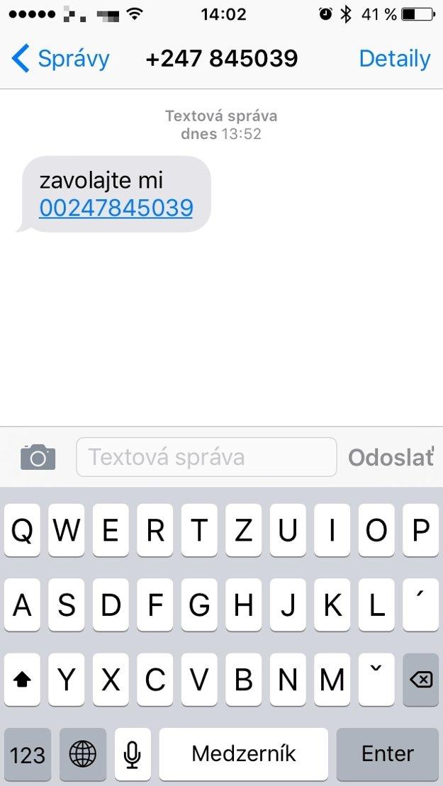 Ukážka falošnej SMS.