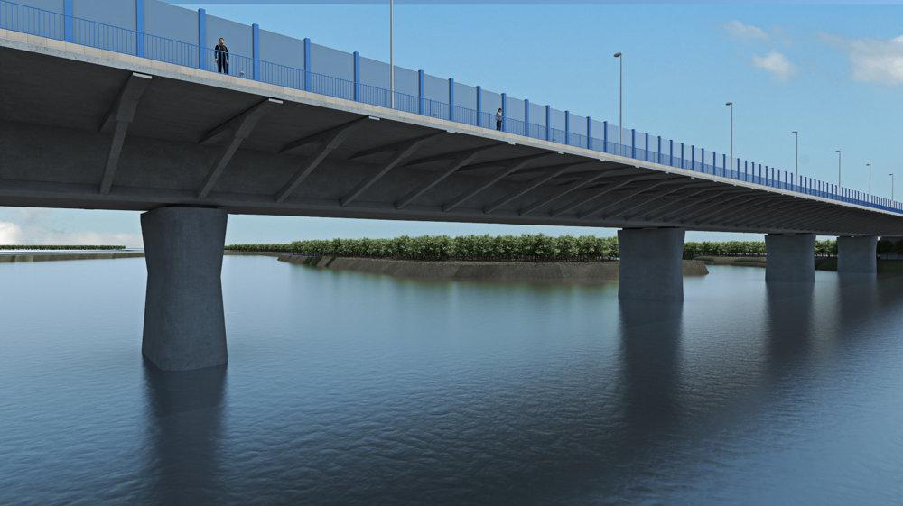 Vizualizácia nového mosta cez Dunaj, ktorý postaví konzorcium okolo spoločnosti Cintra.
