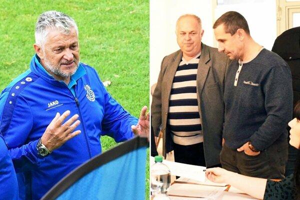 Ladislav Molnár už nie je trénerom Šale. Na snímke vpravo manažér klubu Ladislav Jaroš a prezident Marián Krištof.