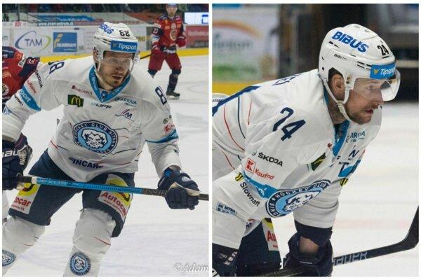 Dalibor Bortňák a Branislav Mezei, skúsení muži hokejovej Nitry, sa po postupe do finále riadne usmievali.